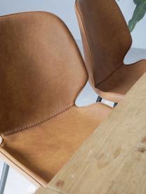 Kunstleder-Polsterstühle Louis, 2 Stück, Bezug: Kunstleder (65% Polyethyl, Beine: Metall, pulverbeschichtet, Cognac, B 44 x T 58 cm