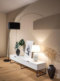 Meuble TV blanc avec tiroir Kobe, Corps: blanc, mat Structure et poignées: noir, mat