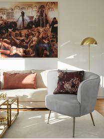 Samt-Sessel Louise in Hellgrau, Bezug: Samt (Polyester) Der hoch, Füße: Metall, beschichtet, Samt Grau, B 76 x T 74 cm