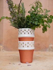 Ręcznie wykonany kubek Beldi, Ceramika, Terakota, odcienie kremowego, złoty, Ø 8 x W 11 cm