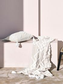 Federa arredo con ornamento trapuntato Tikki, 100% cotone, Beige, Larg. 40 x Lung. 40 cm
