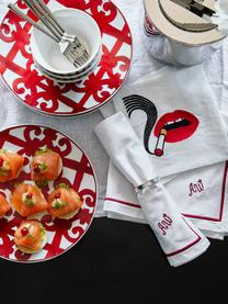 Linnen design cocktail servettenset Muzzy, 4-delig, Linnen, Wit, rood, zwart, 15 x 15 cm