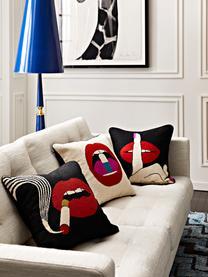 Ręcznie haftowana poduszka z wypełnieniem Soothe, Wełna, Czarny, czerwony, biały, S 45 x D 45 cm