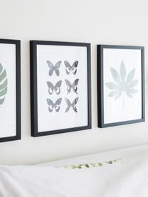 Gerahmter Digitaldruck Butterflies Dark, Bild: Digitaldruck, Rahmen: Kunststoff, Front: Glas, Schwarz,Weiß, 30 x 40 cm
