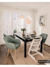 Krzesło z aksamitu z podłokietnikami i drewnianymi nogami Emilia, Tapicerka: aksamit poliestrowy Dzięk, Nogi: drewno dębowe, olejowane, Oliwkowy zielony, drewno dębowe, S 57 x G 59 cm