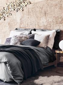 Parure copripiumino in raso di cotone grigio scuro Premium, Grigio scuro, 155 x 200 cm