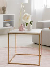 Marmor-Beistelltisch Alys, Tischplatte: Marmor, Gestell: Metall, pulverbeschichtet, Tischplatte: Weiss-grauer Marmor Gestell: Goldfarben, glänzend, 45 x 50 cm