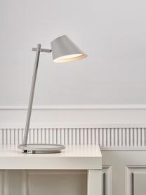 Dimmbare LED-Schreibtischlampe Stay, Lampenschirm: Aluminium, Lampenfuß: Aluminium, Kunststoff, Grau, Ø 20 x H 45 cm