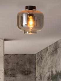 Kleine Deckenleuchte Vaso aus verspiegeltem Glas, Lampenschirm: Glas, Baldachin: Metall, beschichtet, Chrom, verspiegelt, Schwarz, Ø 25 x H 21 cm