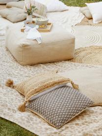 Jute-Kissenhülle Jerome mit Quasten, Rückseite: 100% Baumwolle, Beige,Weiß, 40 x 40 cm