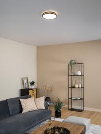 LED-plafondlamp Pescaito, Lampenkap: kunststof, Baldakijn: gelakt metaal, Zwart, goudkleurig, Ø 28 x H 7 cm