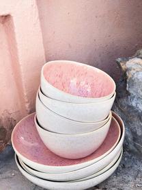 Ręcznie malowana miseczka Areia, 2 szt., Kamionka, Odcienie czerwonego, złamana biel, jasny beżowy, Ø 15 x W 8 cm