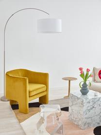 Moderne Bogenlampe Niels in Chrom, Lampenschirm: Baumwollgemisch, Lampenfuß: Metall, gebürstet, Lampenschirm: WeißLampenfuß: ChromKabel: Transparent, 157 x 218 cm