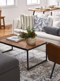 Stolik kawowy z litego drewna Randi, Nogi: stal malowana proszkowo, Blat stolika: drewno mangowe Nogi: czarny, S 110 x W 40 cm