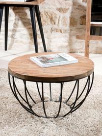 Okrągły stolik kawowy z drewna tekowego Sixtine, Blat: drewno tekowe, z recyklin, Stelaż: metal lakierowany, Drewno tekowe, czarny, Ø 60 x W 35 cm