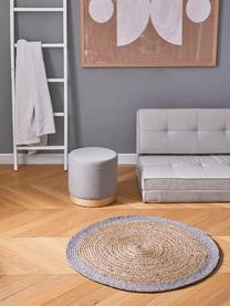Runder Jute-Teppich Shanta mit grauem Rand, handgefertigt, 100% Jute, Beige, Grau, Ø 100 cm (Größe XS)