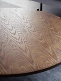 Couchtisch Valentina mit Glasplatte, Tischplatte: Glas, Ablagefläche: Mitteldichte Holzfaserpla, Gestell: Metall, pulverbeschichtet, Tischplatte: Glas, schwarz getöntAblagefläche: Eschenholzfurnier, braun, Ø 84 x H 45 cm