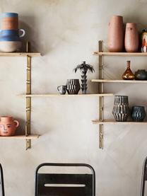 Wandregal Reggio aus Holz und Metall, Gestell: Metall, beschichtet, Einlegeböden: Mangoholz, Messingfarben, Mangoholz, 64 x 74 cm