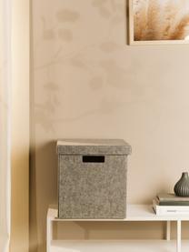Scatola con coperchio Lena, Feltro in materiale sintetico riciclata, Grigio, Alt. 32 x Larg. 32 cm