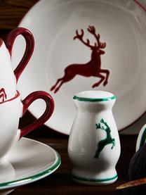 Handbemalter Salzstreuer Gourmet Grüner Hirsch, Keramik, Grün,Weiß, H: 9 cm