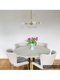 Ronde hanglamp Aurelia goudkleurig, Wit, messingkleurig, Ø 61 x H 78-134 cm