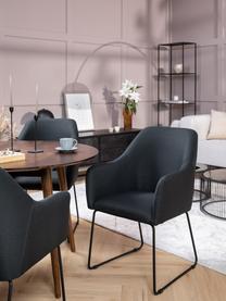 Armstoel Isla, Bekleding: polyester, Poten: gepoedercoat metaal, Geweven stof zwart, poten zwart, B 58 x D 62 cm