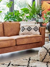 Bank Hunter (2-zits) in bruin van gerecycled leer, Bekleding: gerecycled leer (70% leer, Frame: massief berkenhout en en , Poten: gepoedercoat metaal, Leer bruin, B 164  x D 90 cm