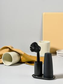 Spülmittelspender Plain mit Spülbürste, 3er-Set, Keramik, Kunststoff (ABS), Silikon, Schwarz, B 15 x T 8 cm
