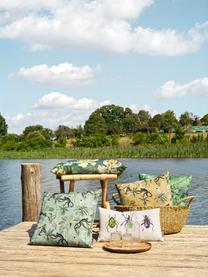 Wendekissenhülle Backwoods mit tropischem Print, 85% Baumwolle, 15% Leinen, Senfgelb, Mehrfarbig, 50 x 50 cm