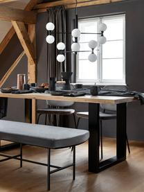 Grote hanglamp Grover met glazen bollen, Baldakijn: gepoedercoat metaal, Zwart, wit, Ø 70  x H 56 cm