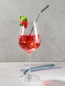Glas-Strohhalm-Set Long Drink, 5-tlg., Borosilikatglas, Rosa, Lila, Türkis, Silberfarben, 24 cm