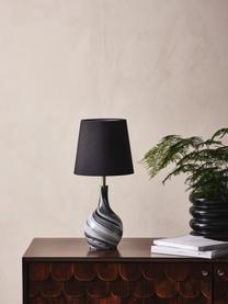Tischlampe Budgee mit Glasfuß, Lampenschirm: Textil, Lampenfuß: Glas, Schwarz, Weiß, Ø 20 x H 40 cm