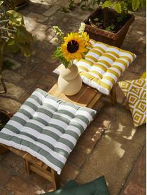 Cuscino sedia a righe giallo/bianco Timon, Rivestimento: 100% cotone, Giallo, bianco, Larg. 40 x Lung. 40 cm