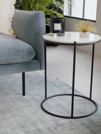 Ronde marmeren bijzettafel Ella, Tafelblad: marmer, Frame: gepoedercoat metaal, Tafelblad: wit marmer. Frame: mat zwart, Ø 40 x H 50 cm