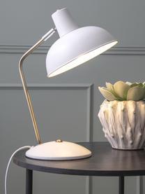 Lampe de bureau retro Hood, Blanc, couleur laitonnée