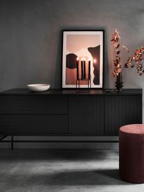 Modernes Sideboard Johan mit Türen in Schwarz, Korpus: Mitteldichte Holzfaserpla, Füße: Metall, pulverbeschichtet, Korpus: Eichenholzfurnier, schwarz lackiertFüße: Schwarz, matt, 160 x 75 cm