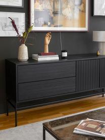 Modern dressoir Johan met deuren in zwart, Frame: MDF met eikenhoutfineer, , Poten: gepoedercoat metaal, Frame: eikenhoutfineer, zwart gelakt. Poten: mat zwart, 160 x 75 cm