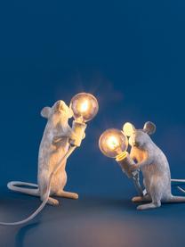 Kleine Design Tischlampe Mouse, Weiß, 6 x 15 cm