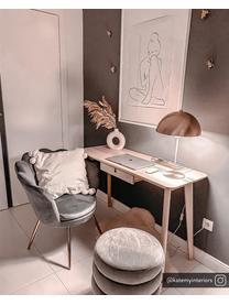 Fluwelen poef Alto, Bekleding: fluweel (polyester), Frame: multiplex, Grijs, Ø 42 x H 48 cm