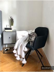 Sedia girevole imbottita con braccioli Lola, Rivestimento: poliestere, Piedini: metallo verniciato a polv, Tessuto nero, gambe nere, Larg. 55 x Prof. 52 cm