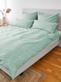 Parure copripiumino in cotone ranforce Lynn, Tessuto: Renforcé, Verde menta, bianco crema, 155 x 200 cm + 1 federa 50 x 80 cm