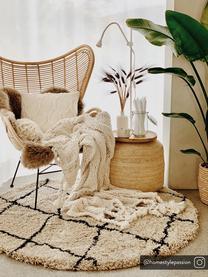 Runder flauschiger Hochflor-Teppich Naima, handgetuftet, Flor: 100% Polyester, Beige, Schwarz, Ø 140 cm (Größe M)
