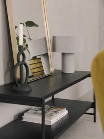 Zwart Mica lowboard met planken, Frame: gepoedercoat metaal, Planken: zwart gelakt eikenhoutfineer. Frame: mat zwart, 120 x 50 cm
