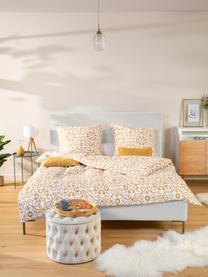 Letto imbottito in tessuto beige Peace, Rivestimento: velluto di poliestere 290, Piedini: metallo verniciato a polv, Tessuto beige, 180 x 200 cm