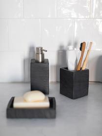 Seifenspender Slate, Behälter: Polyresin, Pumpkopf: Kunststoff, Schwarz, 7 x 17 cm