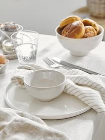 Ręcznie wykonana miska Copenhagen, 4 szt., Kamionka, Kość słoniowa z cienkimi, jasny beżowymi paskami, Ø 11 x W 6 cm