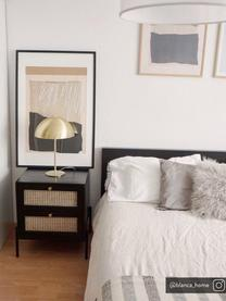 Nachttisch Vienna mit Schubladen, Korpus: Massives Mangoholz, lacki, Füße: Metall, pulverbeschichtet, Schwarz, Beige, Goldfarben, 45 x 55 cm