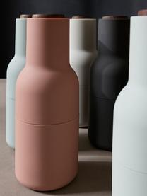 Designer Salz- & Pfeffermühle Bottle Grinder mit Walnussholzdeckel, Korpus: Kunststoff, Mahlwerk: Keramik, Deckel: Walnussholz, Rosatöne, Ø 8 x H 21 cm