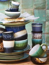 Handgemachte XS Becher 70's im Retro Style, 6er-Set, Keramik, Rosa, Beige, Blau, Ø 8 x H 8 cm
