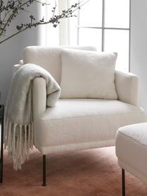 Fauteuil moderne tissu peluche Fluente, Tissu blanc crème